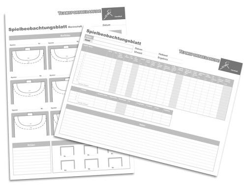 Handball - Spielbeobachtungsblätter (20 Blatt)