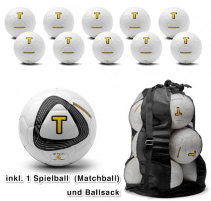 Fussballset - 10 Trainingsbälle + 1 Spielball + Sack (Größe 4)