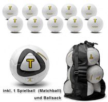 Football set - 10 training balls + 1 match ball + bag (size 4)