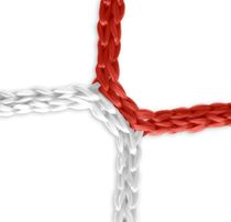 Goal net (red-white) - 5 x 2 m, 4 mm PP, 80/150 cm