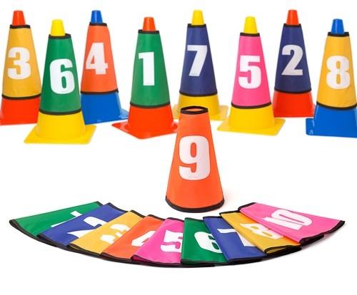 Nummernhütchen für Pylonen - Set (1-10)