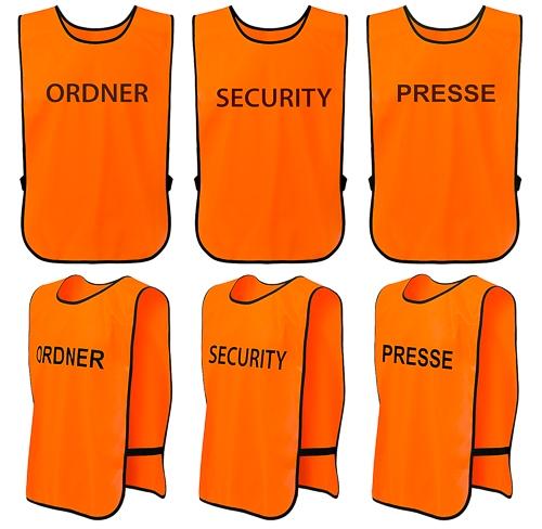 T-PRO Warnweste (Farbe: Orange) - Aufdruck: ORDNER, SECURITY oder PRESSE