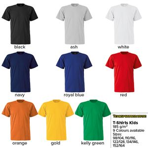 T-Shirts for Children (5 Sizes) - 9 Colours