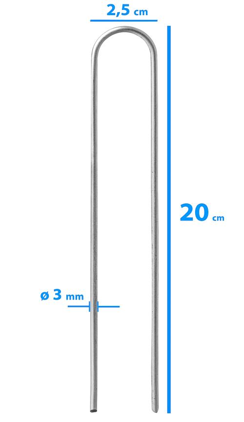 Erdanker (rund) 20 x 2,5 cm ø 3 mm - 100er Set