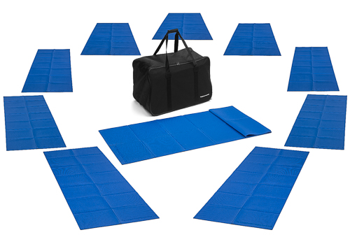 Set of 10 gymnastic mats (173x61x0,3 cm) outdoor – foldable