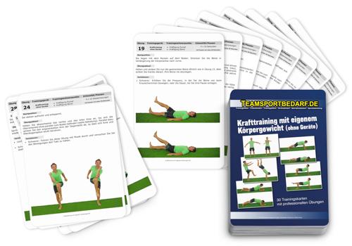 """Trainingskarten - """"Krafttraining mit eigenem Körpergewicht (ohne Geräte)"""" (30 Workouts)"""