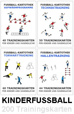 KINDER FUSSBALL SET - 4 Trainingskartotheken (Erwärmung + Technik + Torwart + Hallentraining)