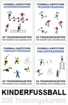 KINDER FUSSBALL SET - 4 Trainingskartotheken (Erwärmung + Technik + Torwart + Hallentraining)