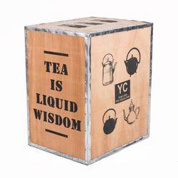 Original Teekiste aus Holz 60x50x40cm - Vintage Teebox aus Übersee Holzteekiste