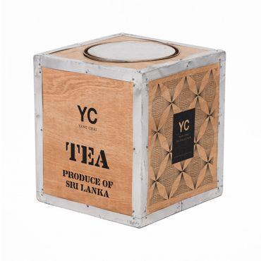 Original Teekiste aus Holz - Vintage Teebox aus Übersee - Maße 26x23x23