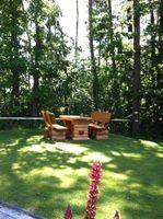 Rustikale Gartenbank aus Holz, massive Gartenmöbel Holzbank – Bild 6