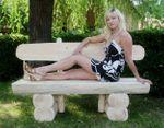 Rustikale Gartenbank aus Holz, massive Gartenmöbel Holzbank – Bild 3