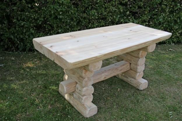 Rustikaler Holz Gartentisch Massive Gartenmobel Gartenbanke Und