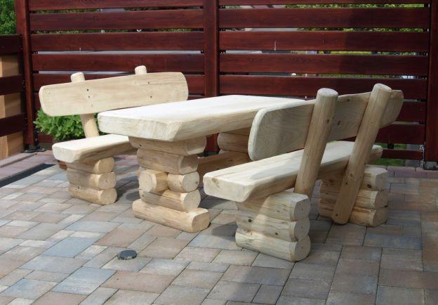 Rustikale Kinder Bank-Tisch Garnitur aus massivem Holz Gartenbänke ...