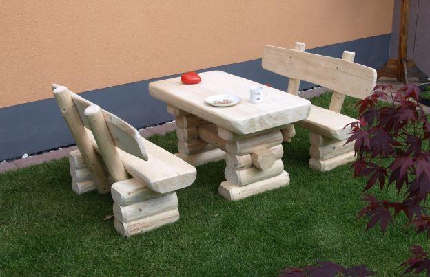 Fabulous Rustikale Kinder Bank-Tisch Garnitur aus massivem Holz Gartenbänke RY04