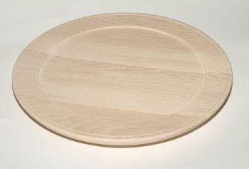 Holzteller aus Buche gedrechselt unbehandelt D 24 cm – Bild 1