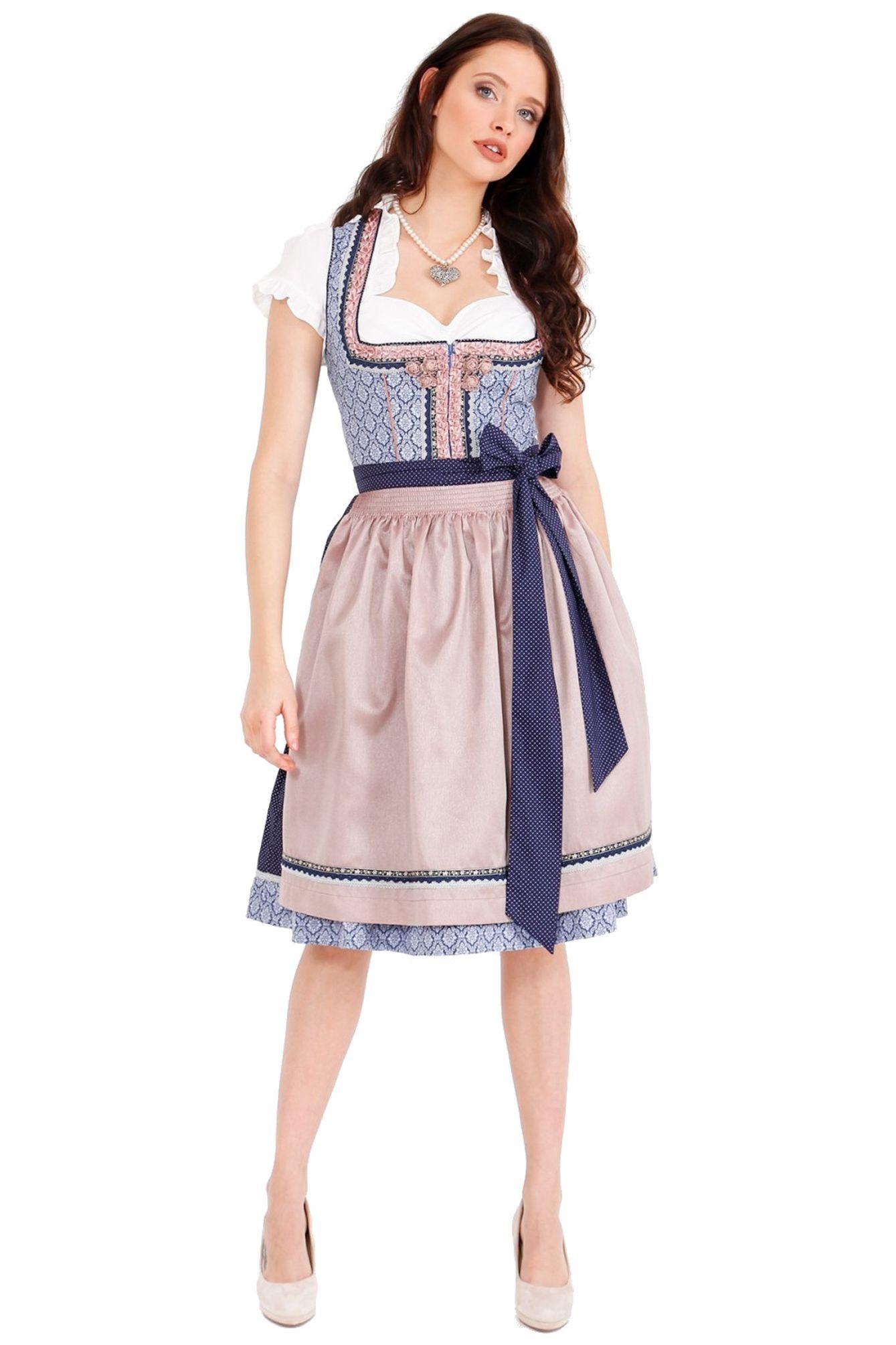 Damen Trachten Dirndl 60cm Artikelnummer: 45516-8 Sophora in blau Krüger