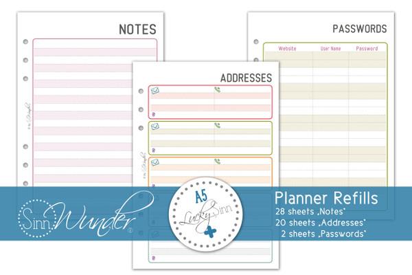 """Planner Refills, Notes """"LuckySinn"""" DinA5"""
