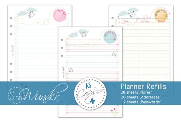 "Planner Refills, Notes ""CosySinn"" DinA5"