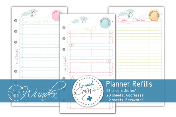 "Planner Refills, Notes ""CosySinn"" Personal Size"