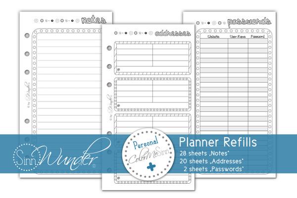 "Planner Refills, Notes ""ColorMeSinn"" Personal Size"