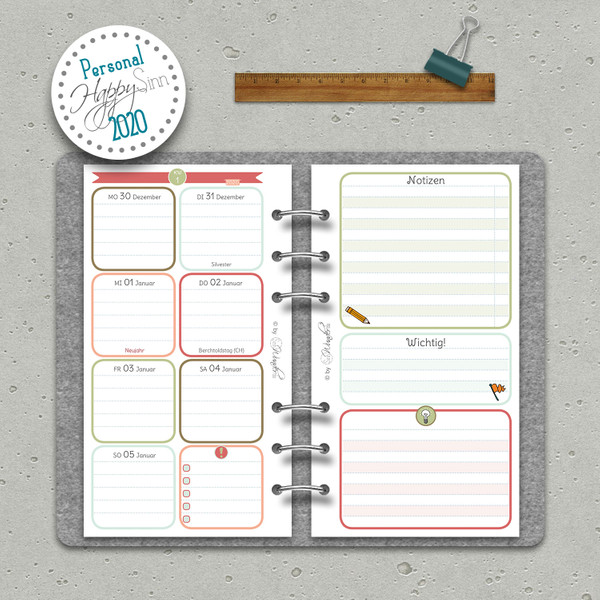 """2020 Wochenkalender """"HappySinn"""" Personal (A6)"""