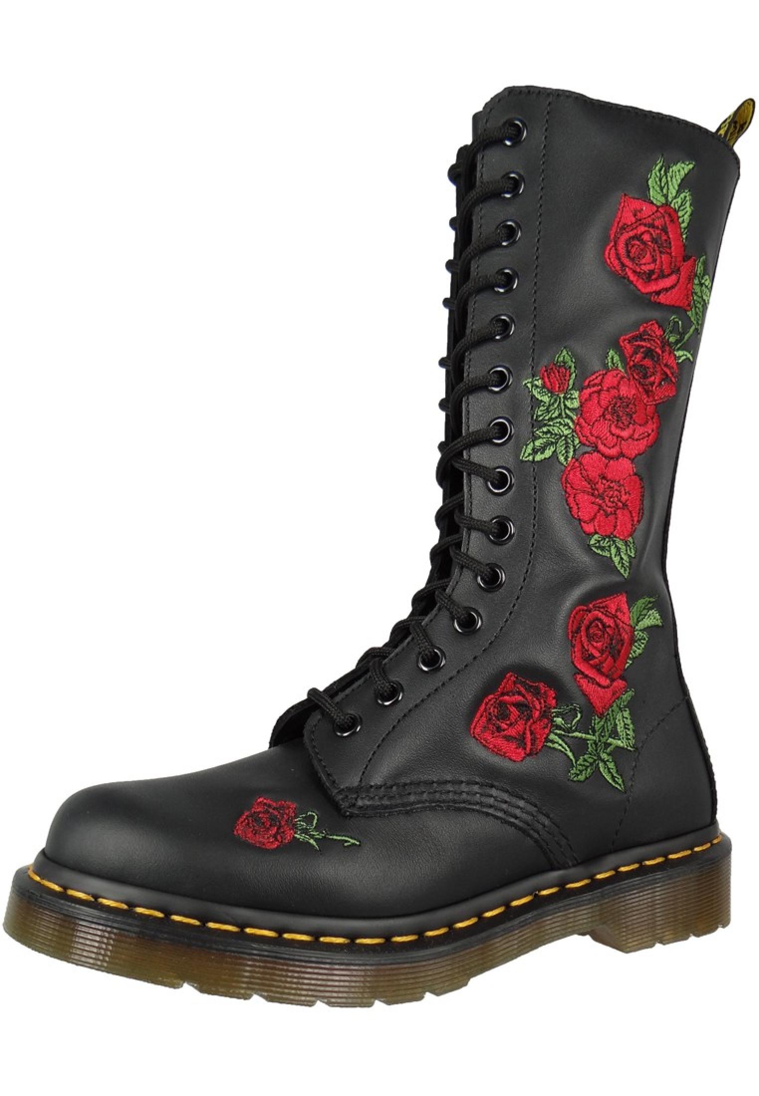 size 7 better wholesale price Dr. Martens VONDA 12761001 Damen Embroidery Rosen Black Schwarz 14-Loch