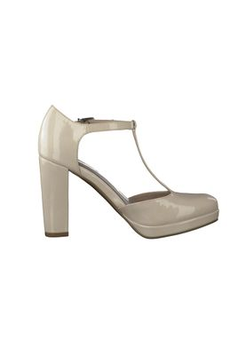Tamaris Plateau Pumps Riemchenpumps Beige High-Heel mit TOUCH-IT Sohle 1-24409-28 452 Cream Patent – Bild 5
