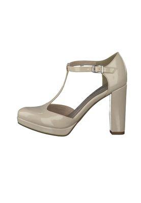 Tamaris Plateau Pumps Riemchenpumps Beige High-Heel mit TOUCH-IT Sohle 1-24409-28 452 Cream Patent – Bild 6