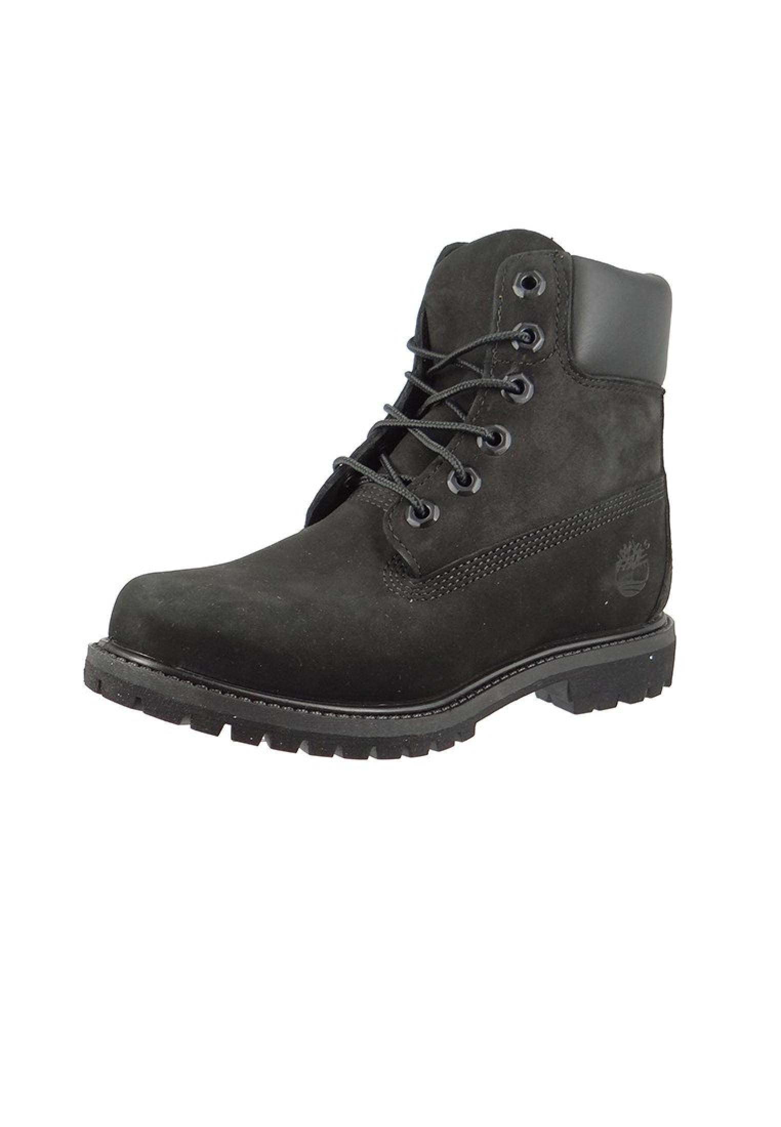 new product e8749 709b9 Timberland Damen Stiefel 6 Inch Premium Boot Leder Black Waterbuck Schwarz  8658A
