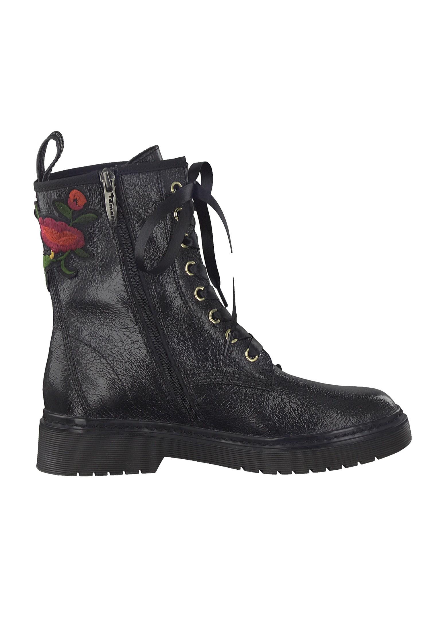 Tamaris Schnürstiefelette Lace Up Boots mit TOUCH IT Sohle Schwarz mit Blumenmuster 1 25738 39 001 Black