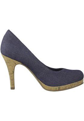 Tamaris 1-22407-20 807 Damen Navy Jeans Blau Plateau Pumps High-Heel – Bild 2