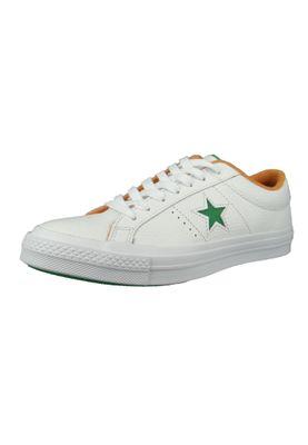 Converse Chucks 160594C One Star OX Leder Weiss White Green Tangelo Australian Open – Bild 1