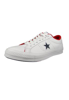 Converse Chucks 160555C One Star OX Leder Weiss White Athletic Navy Enamel Red – Bild 1