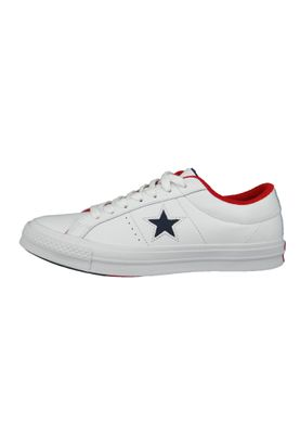 Converse Chucks 160555C One Star OX Leder Weiss White Athletic Navy Enamel Red – Bild 4