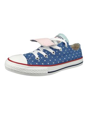 Converse Chucks Kinder 660714C Chuck Taylor All Star Double Tongue - OX Blau Nightfall Blue Ocean Bliss – Bild 1