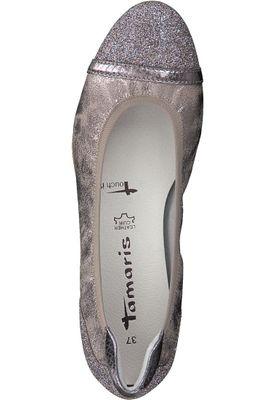 Tamaris 1-22139-20 301 Damen Pepper Comb Beige Glitzer Ballerina mit TOUCH-IT Sohle – Bild 5
