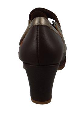 Art 1071 Damen Leder Pumps Platform Heels St. Tropez Brown Braun – Bild 4