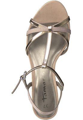 Tamaris 1-28329-20 573 Damen Rose Metallic Glamour Rosa Gold Sandaletten Heeled Sandals – Bild 5