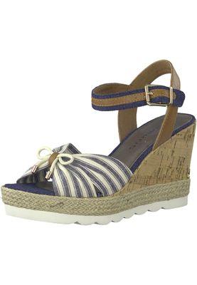 Tamaris 1-28375-20 890 Damen Navy Comb Blau Beige Platform Sandals Sandaletten – Bild 1