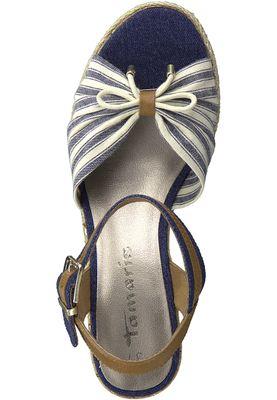 Tamaris 1-28375-20 890 Damen Navy Comb Blau Beige Platform Sandals Sandaletten – Bild 5