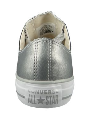 Converse Chucks Silber 561695C Chuck Taylor All Star Big Eyelets OX Metallic Silver Silver White – Bild 3