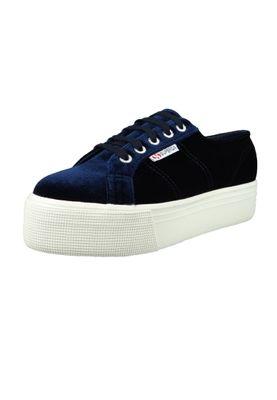 Superga Schuhe Sneaker 2790 Velvetpolyw Plateau Samt Blau S00DJH0 – Bild 1
