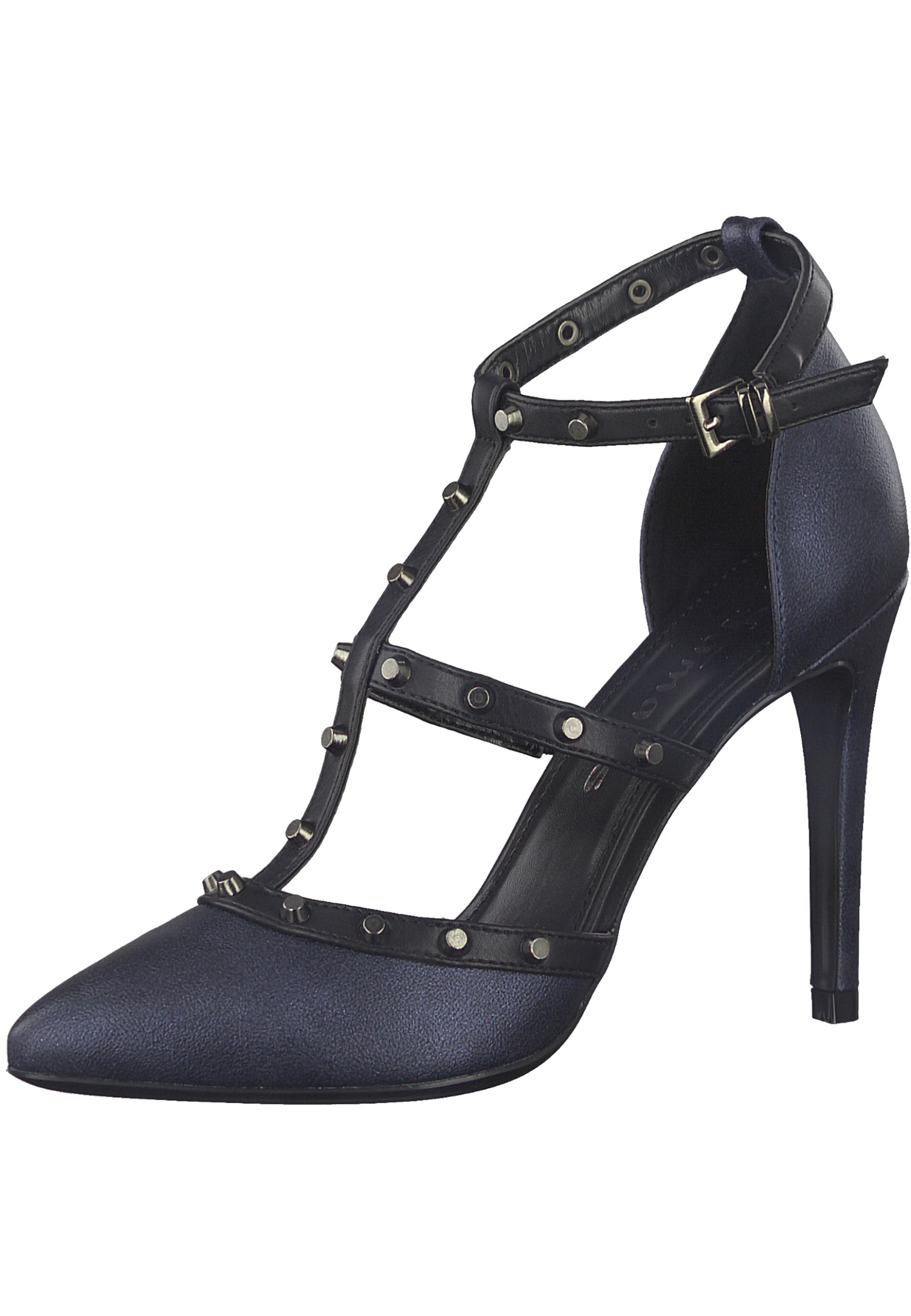 a6802851e0ded0 Tamaris Trend 1-24409-21 824 Damen Navy Metallic Blau Riemchen Pumps  High-Heel Stiletto