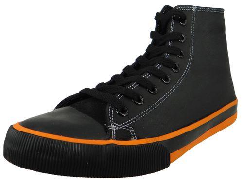 Harley Davidson D93816 Nathan Herren Leder Sneaker Schnürschuh Black Orange Schwarz – Bild 1