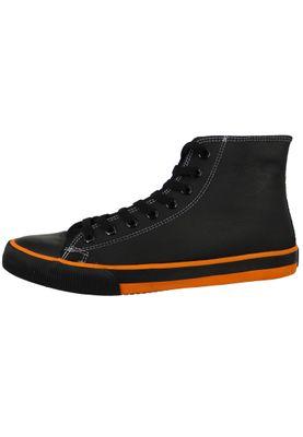 Harley Davidson D93816 Nathan Herren Leder Sneaker Schnürschuh Black Orange Schwarz – Bild 4