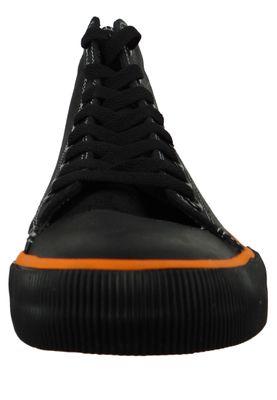 Harley Davidson D93816 Nathan Herren Leder Sneaker Schnürschuh Black Orange Schwarz – Bild 2