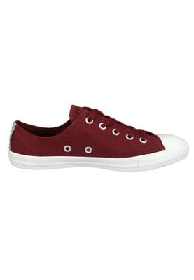Converse Chucks 562475C Weinrot Chuck Taylor All Star Dainty OX Satin Dark Burgundy Silver White – Bild 5