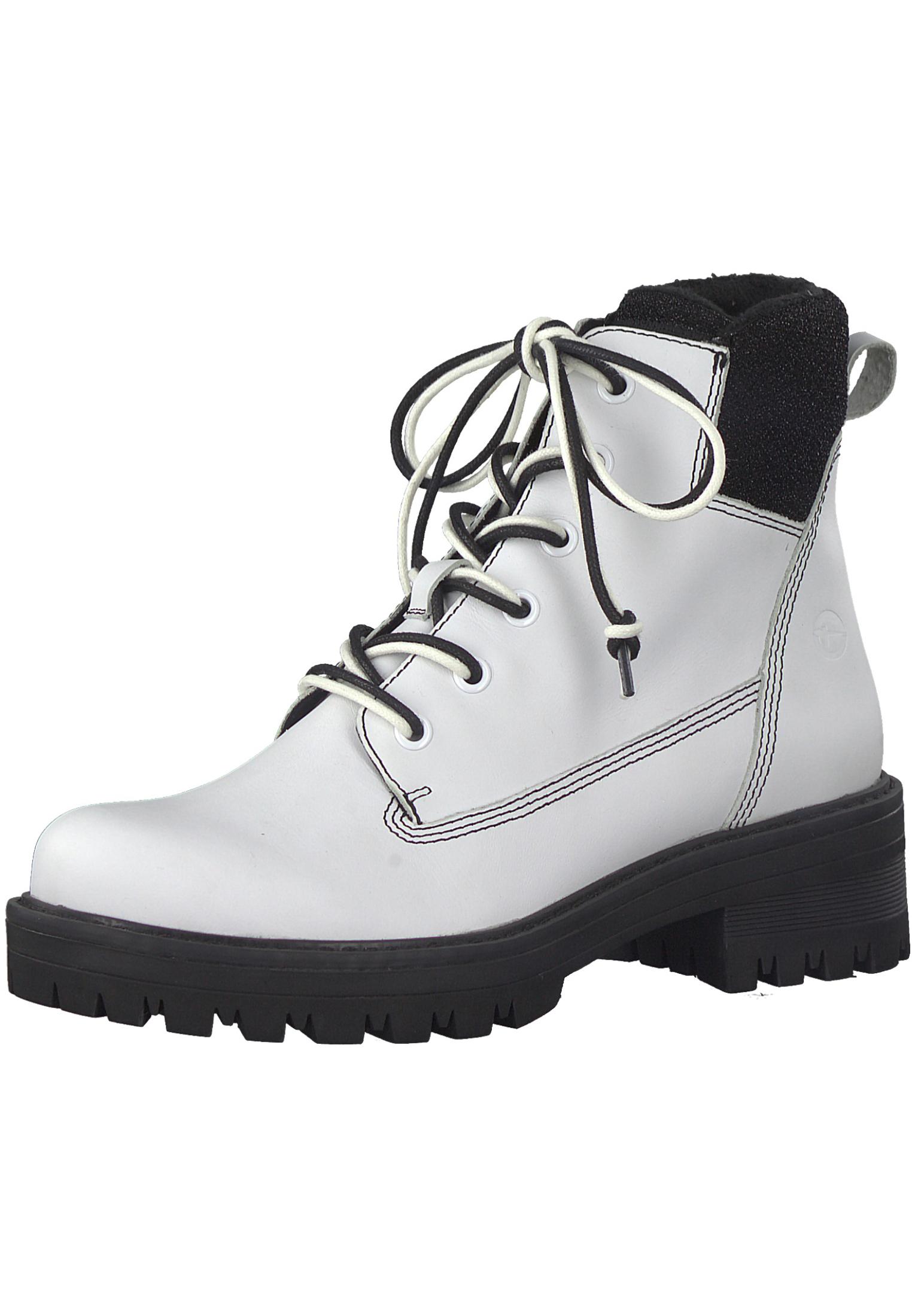 Tamaris Trend 1 25214 21 125 Damen White Black Weiß Schwarz derbe Stiefelette Boots mit TOUCH IT Sohle