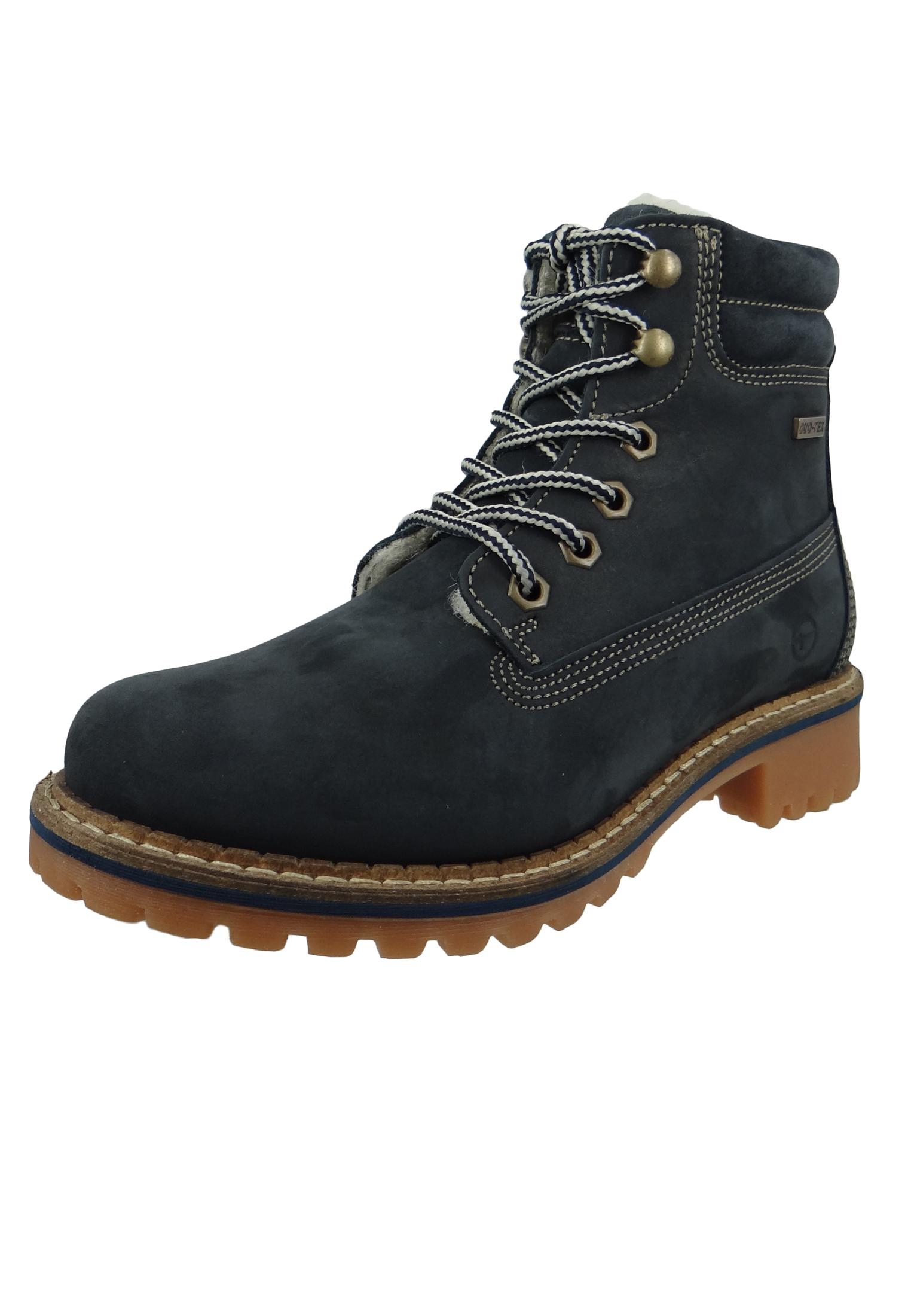 new style c3708 d62c5 Tamaris 1-26244-21 805 Damen Navy Blau Schnürstiefelette Lace-Up Boots mit  Warmfutter
